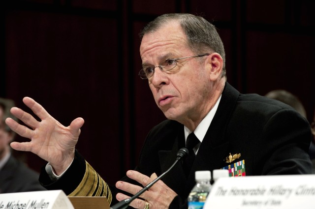 Navy Adm. Mike Mullen, chairman of the Joint Chiefs of Staff, testifies before the Senate Foreign Relations Committee at the Hart Senate Office Building in Washington, D.C., Dec. 3, 2009. The testimony focused on President Barack Obama's decision to send an additional 30,000 troops to the war in Afghanistan.