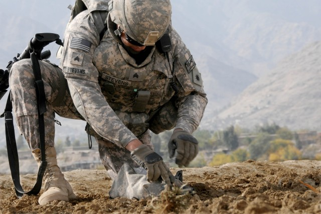 Sampling Afghan soil