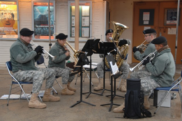 2nd Infantry Division Band Brass Quintet provides holiday music for the Camp Stanley Christmas Tree Lighting ceremony on the steps of the Stanley Theater Dec. 8.