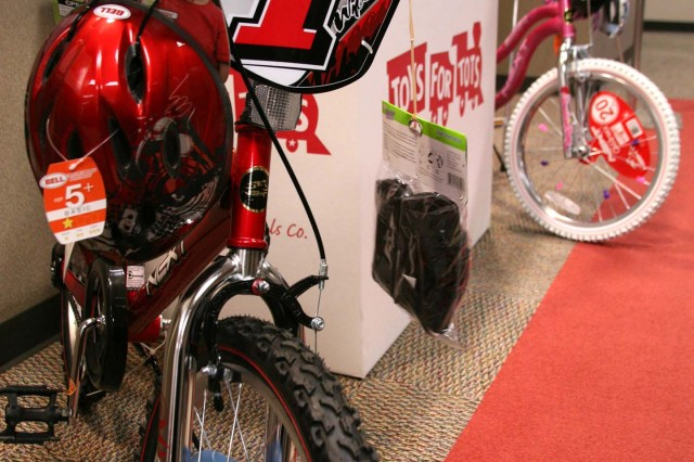 Many employees at the U.S. Army Space and Missile Defense Command/Army Forces Strategic Command have chosen to contribute to the U.S. Marine Corps Reserve Toys for Tots program. These bikes were found next to one of the toy boxes.