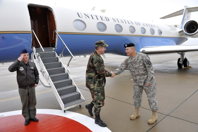 "101st Airborne Division (Air Assault) and Fort Campbell Commander Maj. Gen. John Campbell greets Adm. Mike Mullen, chairman of the Joint Chiefs of Staff as he arrives to address the 101st Soldiers who, as the admiral said, ""...are a group that, by and large, is headed to Afghanistan."""