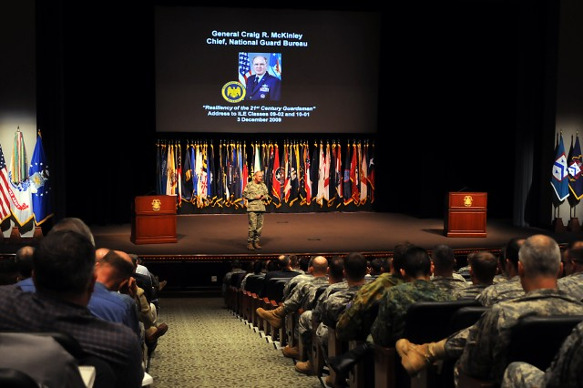 Gen. Craig McKinley, chief of the National Guard Bureau, answers questions after his address to the Command and General Staff College Intermediate Level Education students Dec. 3, in the Lewis and Clark Center's Eisenhower Auditorium, Fort Leavenworth, Kan.