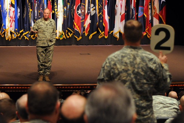 Gen. Craig McKinley, chief of the National Guard Bureau, answers questions after his address to the Command and General Staff College Intermediate Level Education students Dec. 3, in the Lewis and Clark Center's Eisenhower Auditorium at Fort Leavenworth, Kan.