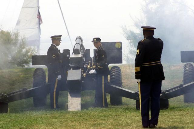Example of an entry.  Guns firing in Continental Park, Fort Monroe, Va.