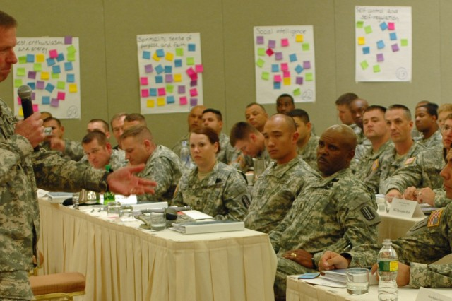 Sgt. Maj. of the Army Kenneth O. Preston talks to students at the Master Resilience Training Course in Philadelphia, Pa., Dec. 10. More than 150 servicemembers will graduate the 10-day course this month.