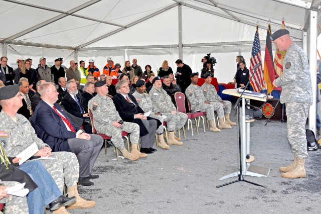 Col. Brian T. Boyle, acting region director of the Installation Management Command-Europe, speaks about quality-of-life improvements during the Wiesbaden South Housing ground-breaking event.