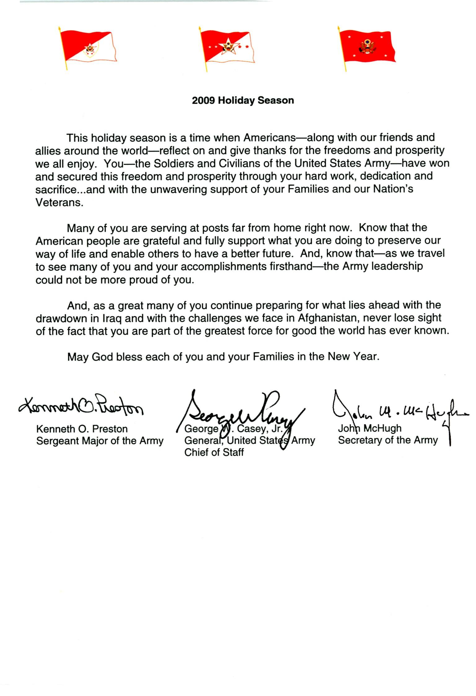Senior army leader holiday message kristyandbryce Gallery
