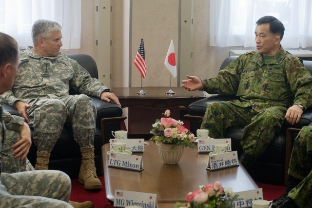 Chief of Staff of the Japanese Army Gen. Yoshifumi Hibako and Chief of Staff of the U.S. Army Gen. George W. Casey Jr. have a bi-lateral meeting in Camp Higashi-Chitose, Japan, Dec. 16, 2009.