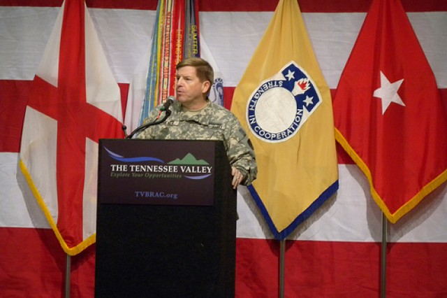 """BRAC to the Future III and the official """"Hail to U.S. Army Security Assistance Command"""" luncheon was hosted at the Von Braun Center in Huntsville, Ala., Dec. 15. Brig. Gen. Christopher Tucker, commanding general of USASAC, was the featured"""