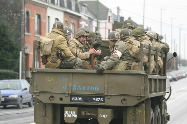 Re-enactors drive around Bastogne, Belgium, Dec. 12-13, to give the thousands of visitors to the commemoration of the 65th anniversary of the Battle of the Bulge a feel for what the town looked like during World War II.