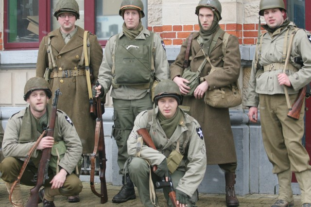 Re-enactors dressed in World War II uniforms commemorate the 65th anniversary of the Battle of the Bulge, Dec. 12-13, which was one of the largest and bloodiest battles for the Americans during World War II.