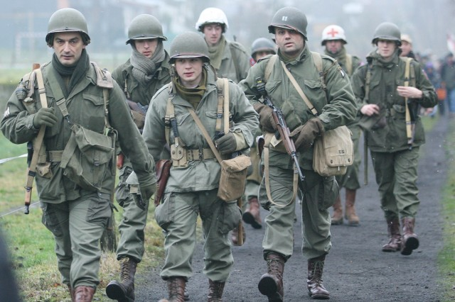 Re-enactors dressed in World War II uniforms participate in the 22-kilometer march Dec. 12 to commemorate the 65th anniversary of the Battle of the Bulge, one of the largest and bloodiest battles for the Americans during World War II.