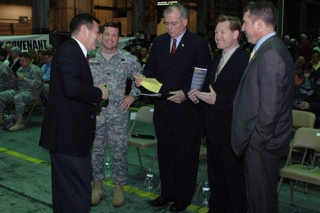 Prior to the Arsenal's Community Covenant Ceremony on Dec. 10, Arsenal Public Affairs Officer, John Snyder, briefs the guest speakers on the sequence of events.  Left to right, Snyder, Col. Scott N. Fletcher, Albany County Executive Michael Breslin, Watervliet Mayor Michael Manning, and New York Director of Veterans' Affairs James McDonough.""