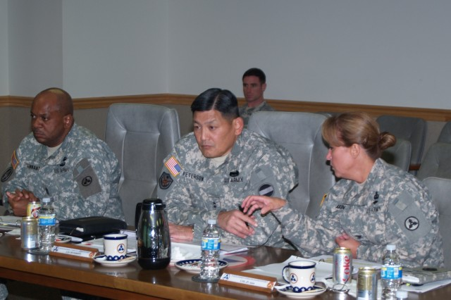 Col. Robin Akin, the 3d Sustainment Command (Expeditionary) commander and Nashville, Tenn., native, briefs Lt. Gen. Joseph F. Peterson, U.S. Army Forces Command deputy commanding general and Honolulu, Hawaii, native, on the command's reset status since returning to Fort Knox after serving in Iraq in support of Operation Iraqi Freedom.  During his visit, Peterson listened to the 3d ESC's reset and retrain process while giving input from a FORSCOM perspective. (U.S. Army photo by Spc. Michael Behlin)