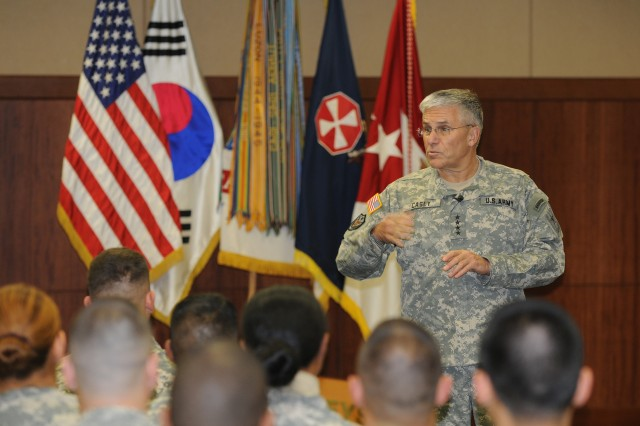 Army Chief of Staff Gen. George Casey visited Humphreys Garrison in Korea on Dec. 16. Casey discussed the state of the Army, the Comprehensive Soldier Fitness Program and took questions from the audience.