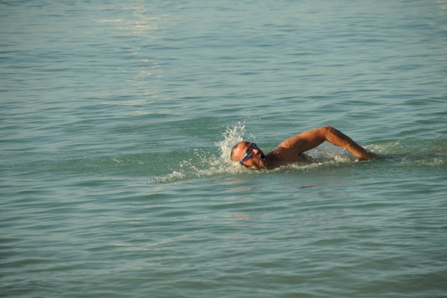 A Soldier from the 605th Transportation Detachment swims 250-meters during the Waterborne Challenge Dec. 8 at Hickam Airforce Base.