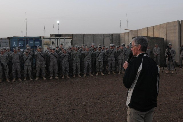 Army Secretary John McHugh addresses Soldiers from 5th Battalion, 20th Infantry Regiment, 3rd Stryker Brigade Combat Team, 2nd Infantry Division, to thank them for their service and to highlight the importance of what they're doing in Iraq at Forward Operating Base Warhorse in Diyala, Iraq, Dec. 18, 2009.