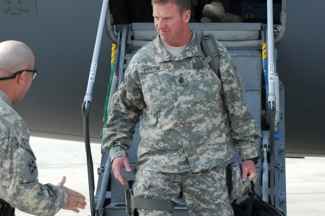 Sgt. Maj. of the Army Kenneth O. Preston arrived at Joint Base Balad, Iraq, Dec. 19  for the Sergeant Major of the Army Hope and Freedom Tour 2009.