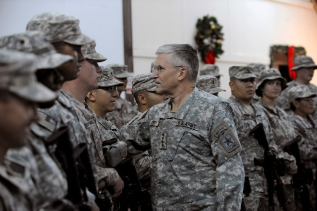Army Chief of Staff Gen. George W. Casey Jr. visits Soldiers at Camp Buehring, a Third Army logistical and training redistribution site in Kuwait on Dec. 18. Casey spoke to hundreds of Third Army and forward deploying servicemembers thanking them for their continued hard work to sustain the fight through the holidays.
