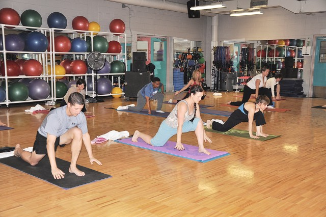 Yoga class at Jimmy Brought