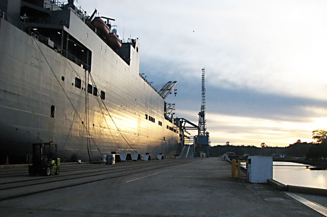 The USNS Pomeroy is a large, medium-speed, roll-on/roll-off, ship owned and operated by the Military Sealift Command, on behalf of the Army, which uses the vessel to preposition combat-ready equipment. The ship contains 393,000 square feet of storage space on six decks, with space to lash down tanks, helicopters, trucks and other large vehicles. The vessel is operated by about 30 contractors employed by the MSC, with several Honeywell Technology contractors who maintain the equipment while it\'s out to sea. The Pomeroy was in port Nov. 30 to Dec. 4 to download its cargo before undergoing its own inspection. The equipment will be made ready in approximately 15 weeks; then the next prepositioning ship comes to Charleston for uploading and travel to a pre-determined location, ready for a military or humanitarian crisis.