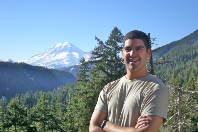 Staff Sgt. Daniel Bari, shown here in front of Mount Rainier in Washington state, said he plans to climb Mount Everest in 2012. Bari, a St. Louis Park, Minn., native and a medic with the 34th Red Bull Infantry Division, climbed a portion of Mount Rainier while preparing for his deployment to southern Iraq.