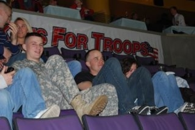Soldiers from the 3rd Infantry enjoy a Washington Capitals hockey game during  Army Appreciation Night Dec. 23.