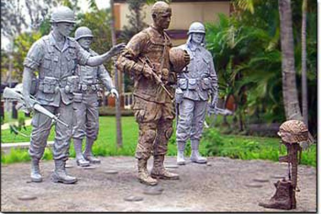 Staff Sgt. James Rivera (in bronze) was the model for the modern-day Global War on Terrorism Soldier seen in the memorial statue at Schofield Barracks, Hawaii.