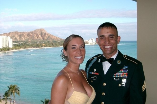 Staff Sgt. James Rivera and his wife, Jennifer, pose for a picture. Rivera said Jennifer is his hero. After being injured in Afghanistan in 2004, he said she made him feel like he had something to live for, and spent countless hours changing the dressing on his wounds.