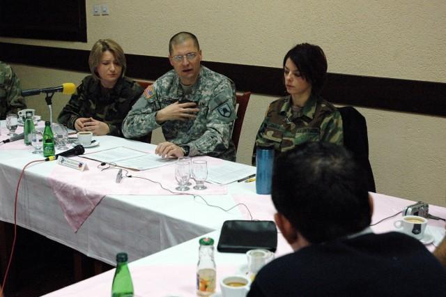Brig. Gen. Al Dohrmann, Bismarck, N.D., commanding general of Multi-National Task Force-East, answers a question for media in Gjilan/Gnjilane, during a Dec. 29 press coffee.