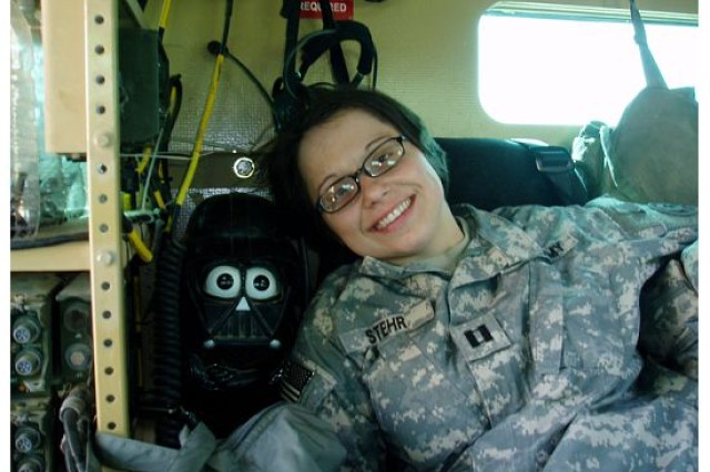 Capt. Emily Stehr enjoys a little downtime during her deployment to Iraq with the 2nd Stryker Calvary Regiment in Vilseck, Germany. Stehr battled with suicidal thoughts, but was able to cope after seeking assistance at Landstuhl Regional Medical Center.