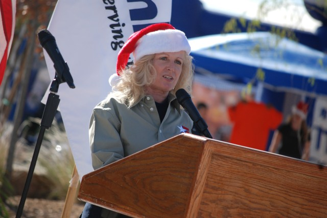 Paula Gunderson, AAFES general manager, shares upcoming plans for the new Freedom Crossing plaza at Fort Bliss, Texas, Dec. 18, in which seven stores became open for business. Currently, the project is 50 percent complete and is expected to be finished in early fall.