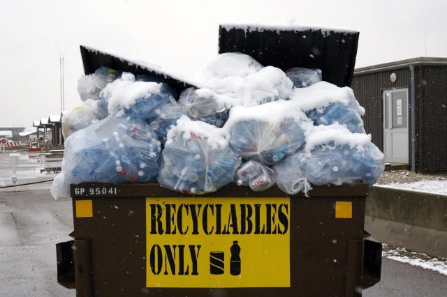 A recycling bin overflows near the hosiptal on Camp Bondsteel, Kosovo.