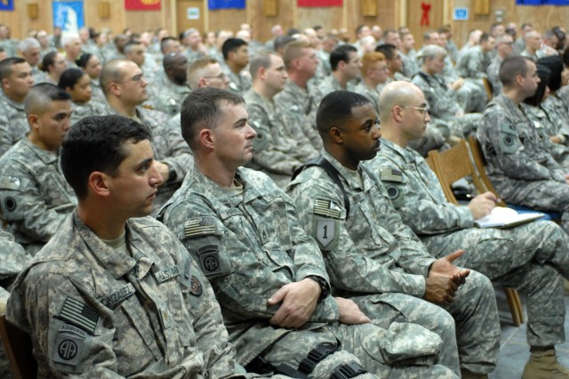 I Corps Soldiers listen as their commanding general, Lt. Gen. Charles H. Jacoby, Jr., discusses the progress the unit has made since deploying to Camp Victory in March. Jacoby urged his Soldiers to finish strong during their last months of their tour.