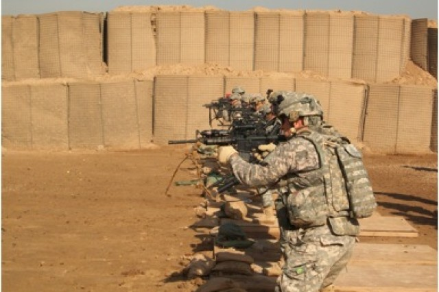 3rd PLT, C Co, conducts a Close Quarters Marksmanship range testing the ability of the soldiers to engage the enemy from multiple different firing platforms and various differences.""