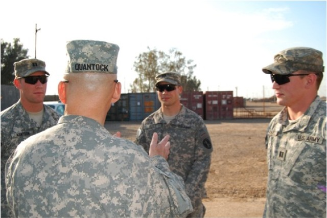 """MG Quantock, Commanding General of Task Force 134, talks during one of his weekly visits to CPT Arntson, CPT Ault, and CPT Hamel about the success of C 1-3 IN missions and his plan for future operations."""""""