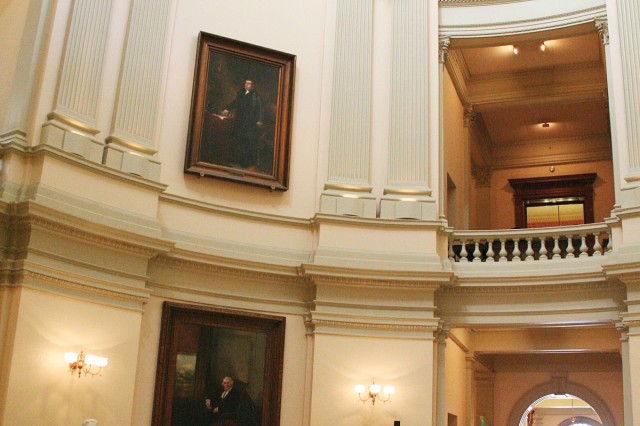 From inside the capitol rotunda, visitors can see marble busts and portraits of famous Georgians.