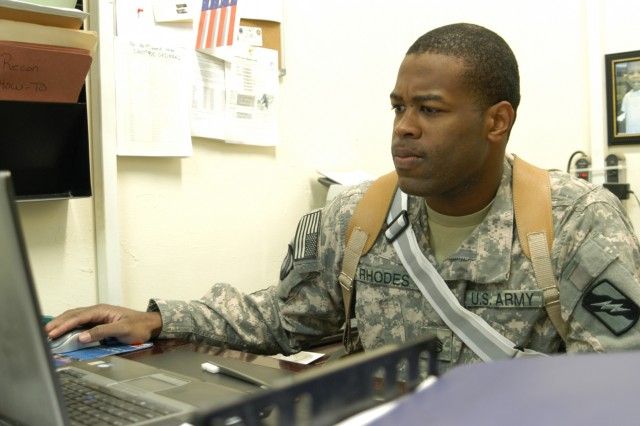 CONTINGENCY OPERATING LOCATION Q-WEST, Iraq - Staff Sgt. Eskria B. Rhodes, a supply sergeant from New Hebron, Miss., reviews an excess property inventory Dec. 24 in the tactical operations center of A Company, 106th Brigade Support Battalion, out of Magee, Miss., a convoy security unit attached to 2nd Battalion, 198th Combined Arms, out of Senatobia, Miss. Rhodes maintains a property book of equipment worth more than 60 million dollars.
