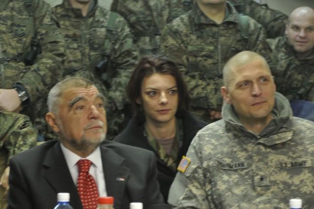 Stjepan Mesic, president of Croatia, and Brig. Gen. Al Dohrmann, commander, Multi-National Task Force - East, listen to a brief about the Croatian Soldiers on Camp Bondsteel, Kosovo, Jan. 8, 2010.