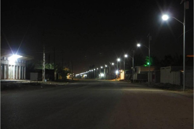 More than 1,200 solar-powered street lights provide illumination for more than 35 kilometers of roadway in and around Fallujah, Iraq.