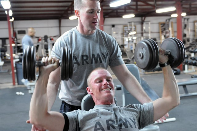 """BAGHDAD - Sgt. Jim Wendling, assigned to D Troop, Division Special Troops Battalion, 1st Cavalry Division, United States Division-Center, says he works out for one reason: survivability. """"The better shape you are in, the better chance you have of coming back from it, if you are injured,"""" said Wendling. (U.S. Army photo by Sgt. 1st Class Kristina Scott, 366th MPAD, USD-C)"""