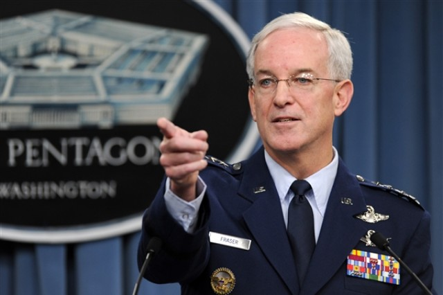 Air Force Gen. Douglas Fraser, commander of U.S. Southern Command, takes a question during a Pentagon news conference on earthquake-relief efforts in Haiti, Jan. 13, 2010. (DoD photo by R.D. Ward)