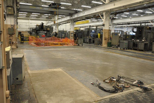 The Watervliet Arsenal is rapidly clearing underutilized floor space making way for state-of-the-art equipment.  Since the time of this photo in late 2009, the Arsenal has installed a state-of-the-art machine that can perform vertical and horizontal machining functions without stopping the machine to reset.