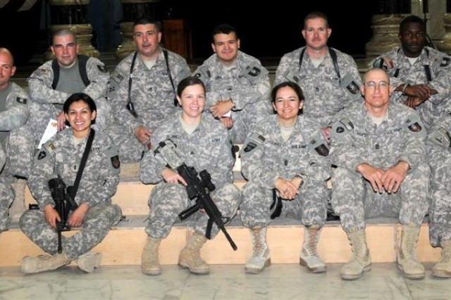 The 36th Sustainment Brigade personal security detachment out of Temple, Texas, poses for a group picture in Al Faw Palace during their eight-day mission Jan. 1 through Jan. 8, at Camp Victory, Iraq.