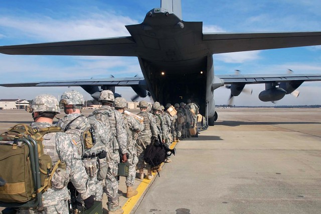 U.S. Army paratroopers board a transport aircraft at Pope Air Force Base, N.C., Jan. 14, 2010, en route to support recovery efforts in Haiti following a devastating earthquake. The Soldiers are assigned to the 82nd Airborne Division's Bravo Troop, 1st Squadron, 73rd Cavalry Regiment, 2nd Brigade Combat Team.