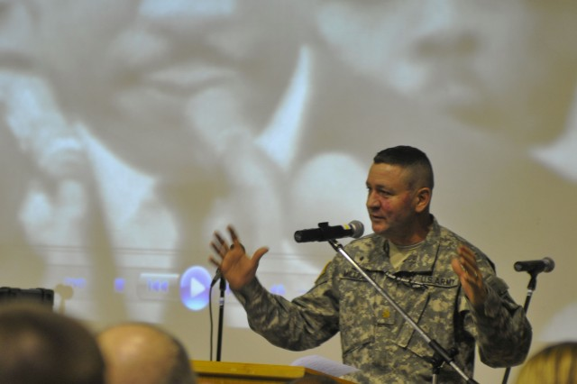 Chaplain Maj. Maury Millican speaks during a Martin Luther King Program on Camp Bondsteel, Kosovo.