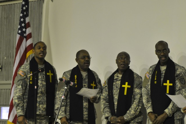 A choir sings for Soldiers during a Martin Luther King program on Camp Bondsteel, Kosovo.