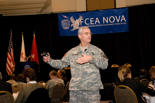 Lt. Gen. Jeffrey Sorenson, chief information officer/G-6, speaks during the 9th Annual Armed Forces Communications and Electronics Association (AFCEA) NOVA Army IT Day held on Jan. 14 in Tysons Corner, Va.