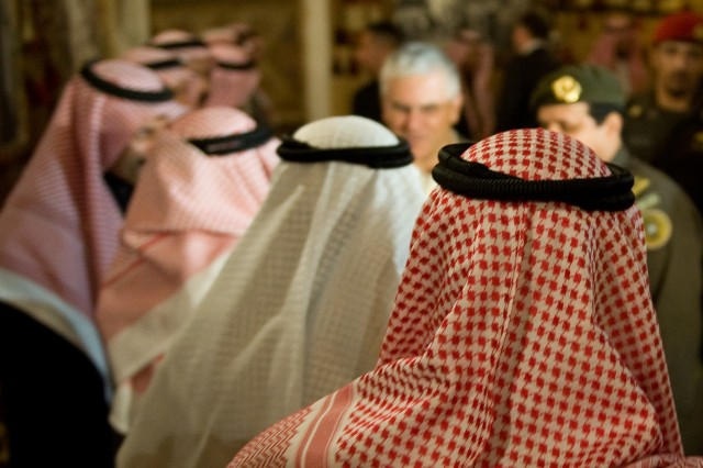 Saudi Arabian Army officers are introduced to Chief of Staff of the U.S. Army Gen. George W. Casey Jr. before dinner at Riyadh, Saudi Arabia, Jan. 18, 2010. Casey is in Saudi Arabia to visit American servicemembers and meet with the local military leadership.