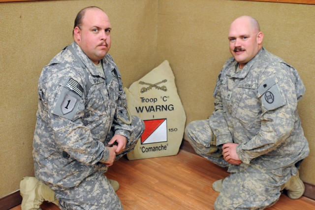BAGHDAD - Staff Sgts. Brian Brake (left) and Travers Brake serve with the West Virginia National Guard as platoon sergeants assigned to Troop C, 1st Bn., 150th Armd. Recon. Sqdn., 30th HBCT, serve together as battle brothers. (U.S. Army photo by Sgt. Samantha Beuterbaugh, 366th MPAD, USD-C